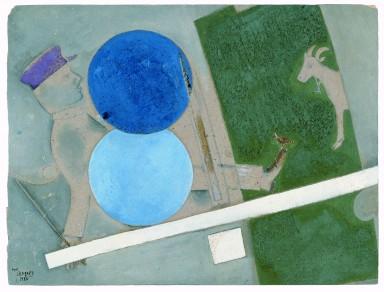 Marc Chagall, Composition au Cercle et à la Chèvre – Théâtre d'art Juif, 1920. Collection privée. © Chagall ® SABAM Belgium 2015